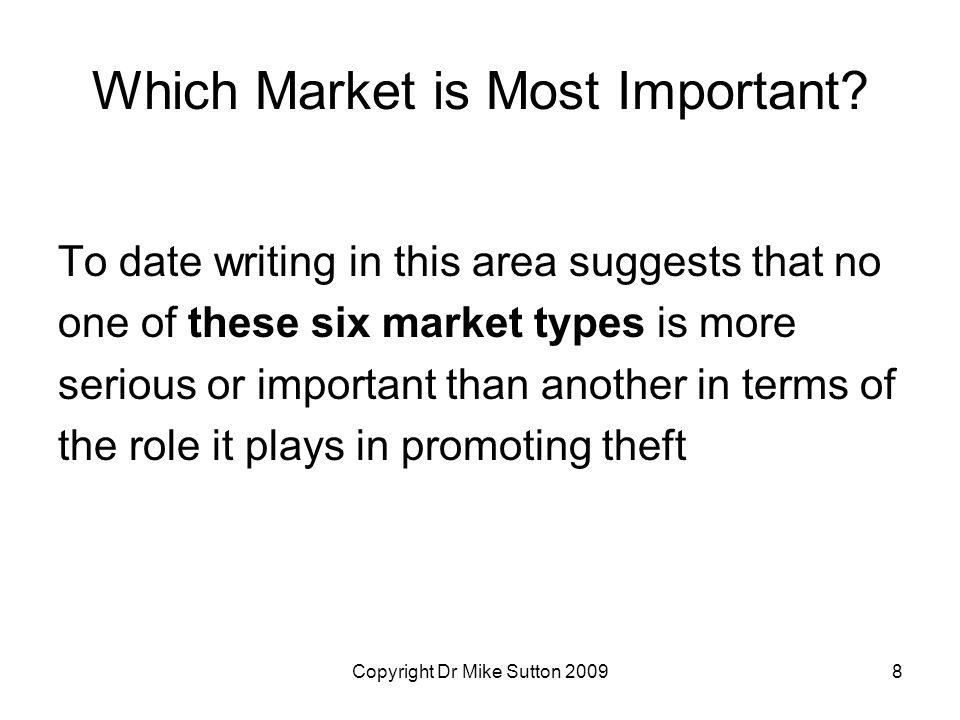 Copyright Dr Mike Sutton 20098 Which Market is Most Important.