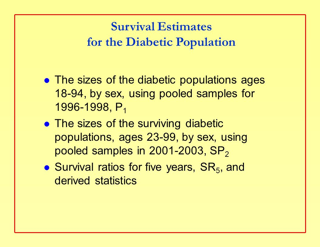 Survival Estimates for the Diabetic Population The sizes of the diabetic populations ages 18-94, by sex, using pooled samples for 1996-1998, P 1 The sizes of the surviving diabetic populations, ages 23-99, by sex, using pooled samples in 2001-2003, SP 2 Survival ratios for five years, SR 5, and derived statistics