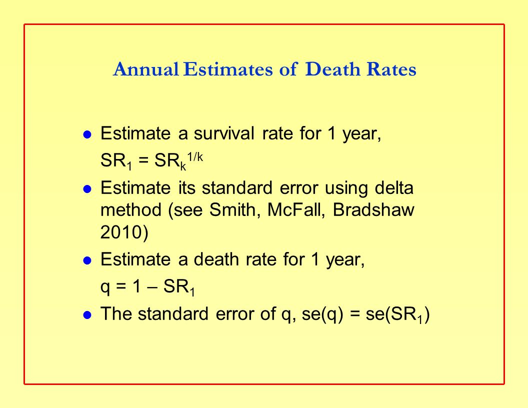 Estimate a survival rate for 1 year, SR 1 = SR k 1/k Estimate its standard error using delta method (see Smith, McFall, Bradshaw 2010) Estimate a death rate for 1 year, q = 1 – SR 1 The standard error of q, se(q) = se(SR 1 ) Annual Estimates of Death Rates