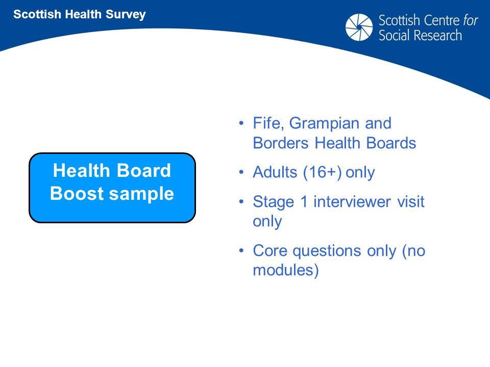 Health Board Boost sample Scottish Health Survey Fife, Grampian and Borders Health Boards Adults (16+) only Stage 1 interviewer visit only Core questions only (no modules)