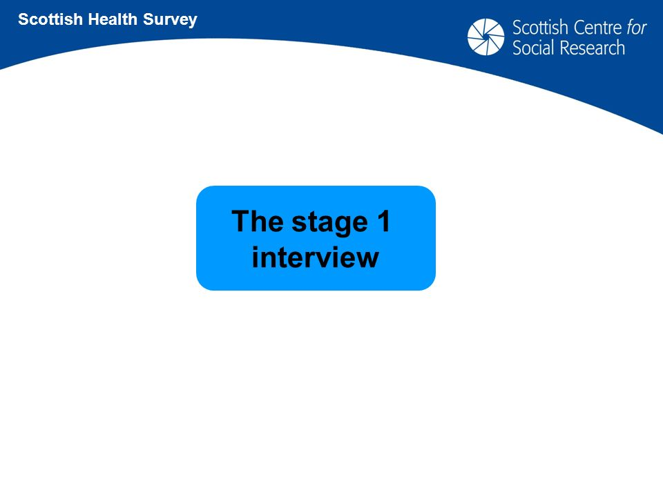 The stage 1 interview Scottish Health Survey