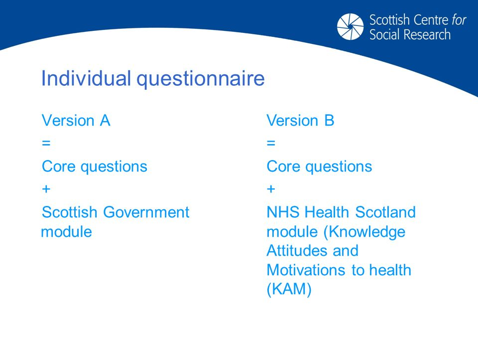 Individual questionnaire Version A = Core questions + Scottish Government module Version B = Core questions + NHS Health Scotland module (Knowledge Attitudes and Motivations to health (KAM)