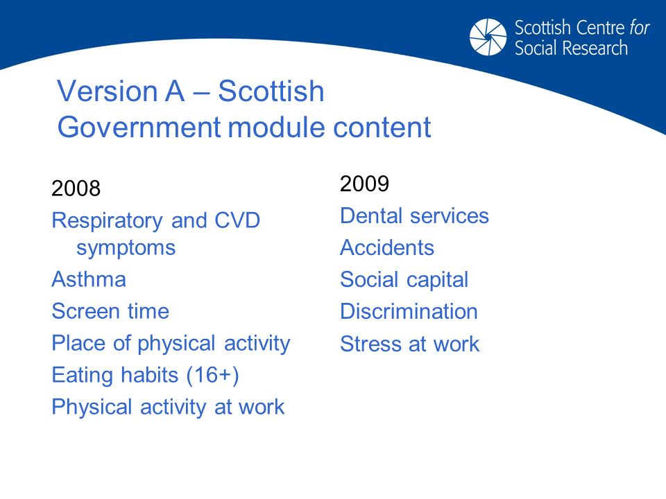 Version A – Scottish Government module content 2009 Dental services Accidents Social capital Discrimination Stress at work 2008 Respiratory and CVD symptoms Asthma Screen time Place of physical activity Eating habits (16+) Physical activity at work