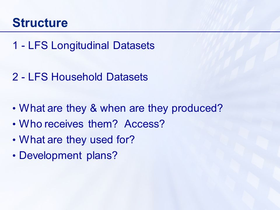 Structure 1 - LFS Longitudinal Datasets 2 - LFS Household Datasets What are they & when are they produced.