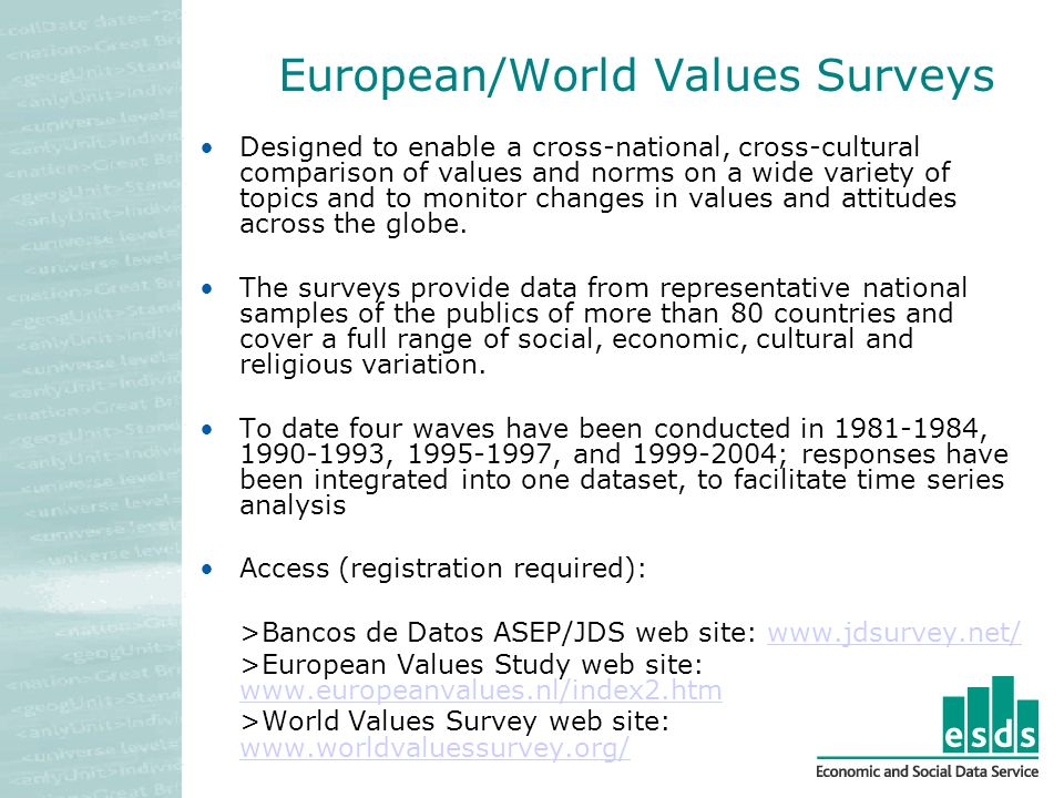 European/World Values Surveys Designed to enable a cross-national, cross-cultural comparison of values and norms on a wide variety of topics and to monitor changes in values and attitudes across the globe.