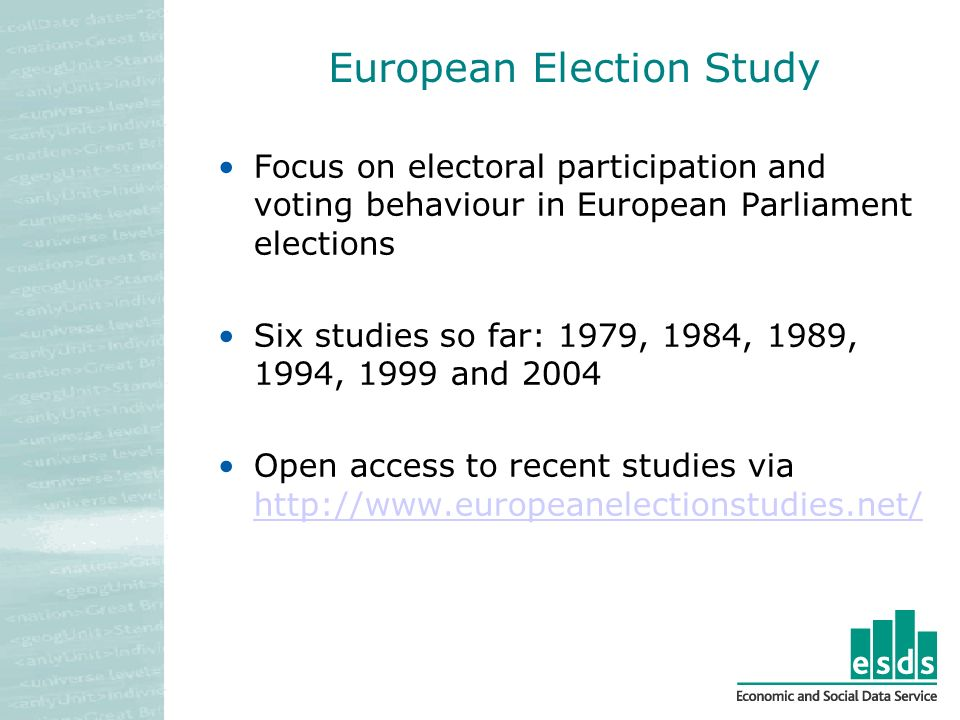 European Election Study Focus on electoral participation and voting behaviour in European Parliament elections Six studies so far: 1979, 1984, 1989, 1994, 1999 and 2004 Open access to recent studies via http://www.europeanelectionstudies.net/ http://www.europeanelectionstudies.net/