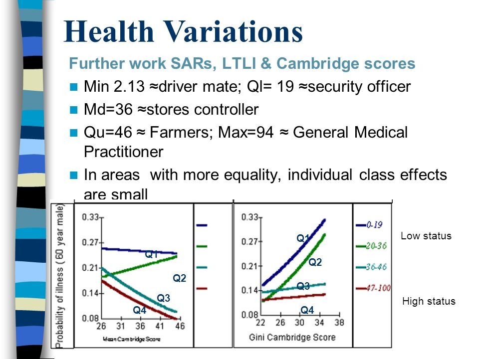 Further work SARs, LTLI & Cambridge scores Min 2.13 driver mate; Ql= 19 security officer Md=36 stores controller Qu=46 Farmers; Max=94 General Medical Practitioner In areas with more equality, individual class effects are small Q1 Q2 Q1 Q2 Q3 Q4 Low status High status Q1 Q2 Q1 Q2 Q3 Q4 Health Variations