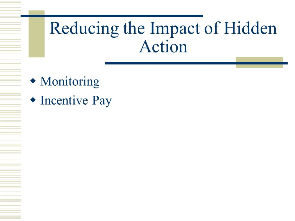 Reducing the Impact of Hidden Action Monitoring Incentive Pay