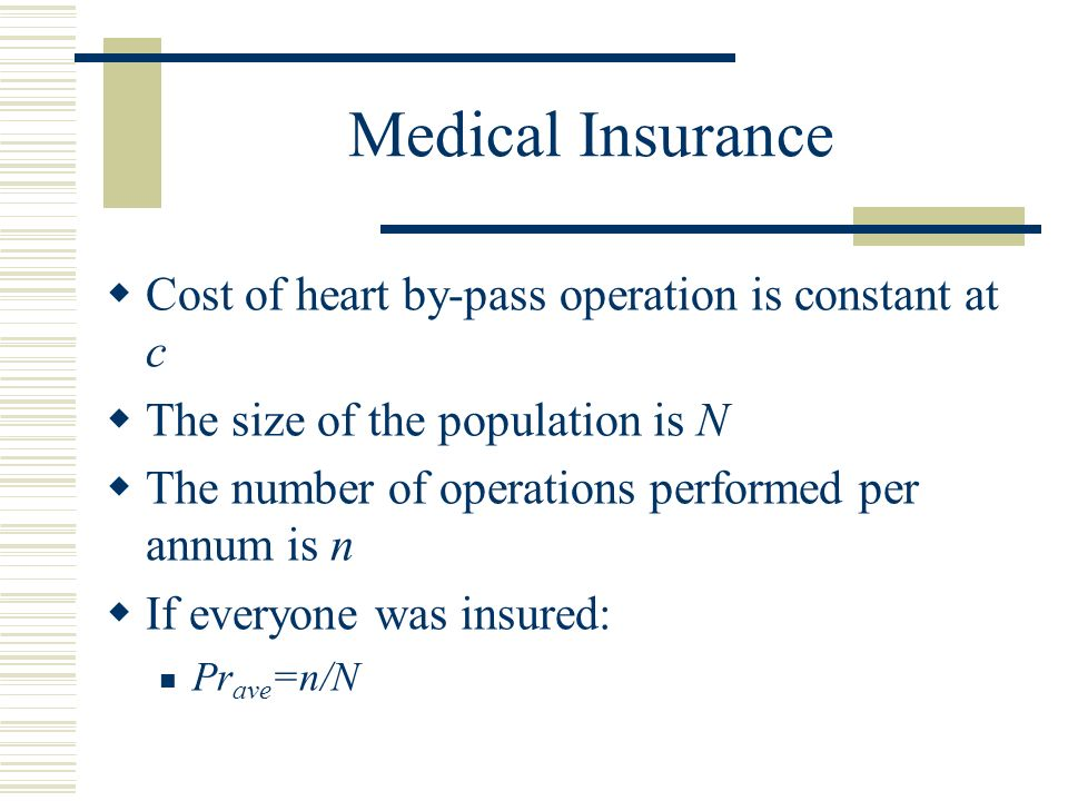 Medical Insurance Cost of heart by-pass operation is constant at c The size of the population is N The number of operations performed per annum is n If everyone was insured: Pr ave =n/N