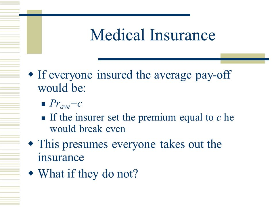 Medical Insurance If everyone insured the average pay-off would be: Pr ave =c If the insurer set the premium equal to c he would break even This presumes everyone takes out the insurance What if they do not
