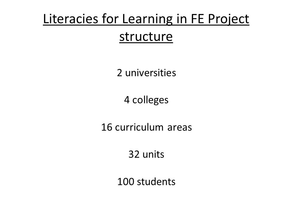 Literacies for Learning in FE Project structure 2 universities 4 colleges 16 curriculum areas 32 units 100 students