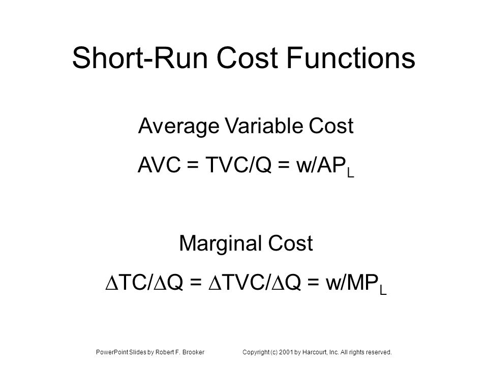 Short-Run Cost Functions Average Variable Cost AVC = TVC/Q = w/AP L Marginal Cost TC/ Q = TVC/ Q = w/MP L