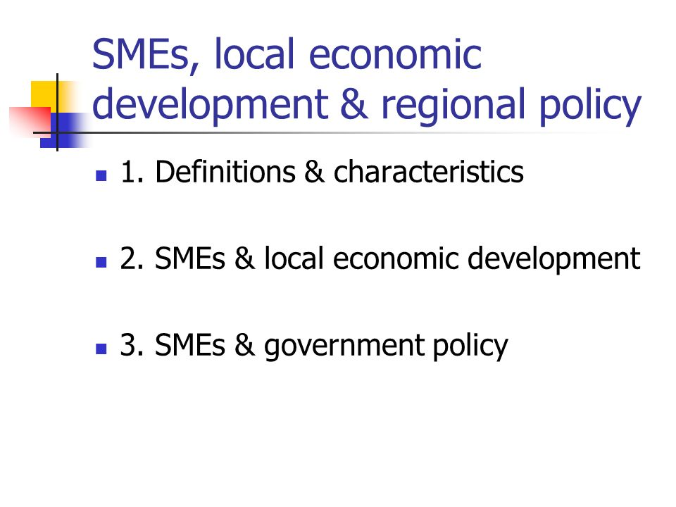 SMEs, local economic development & regional policy 1.