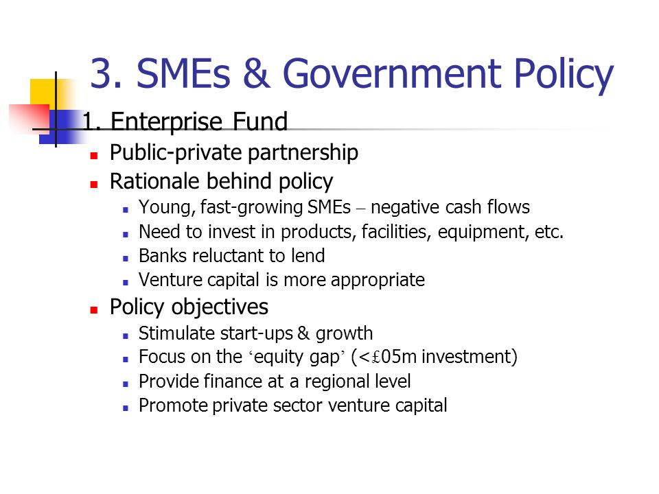 3. SMEs & Government Policy 1.