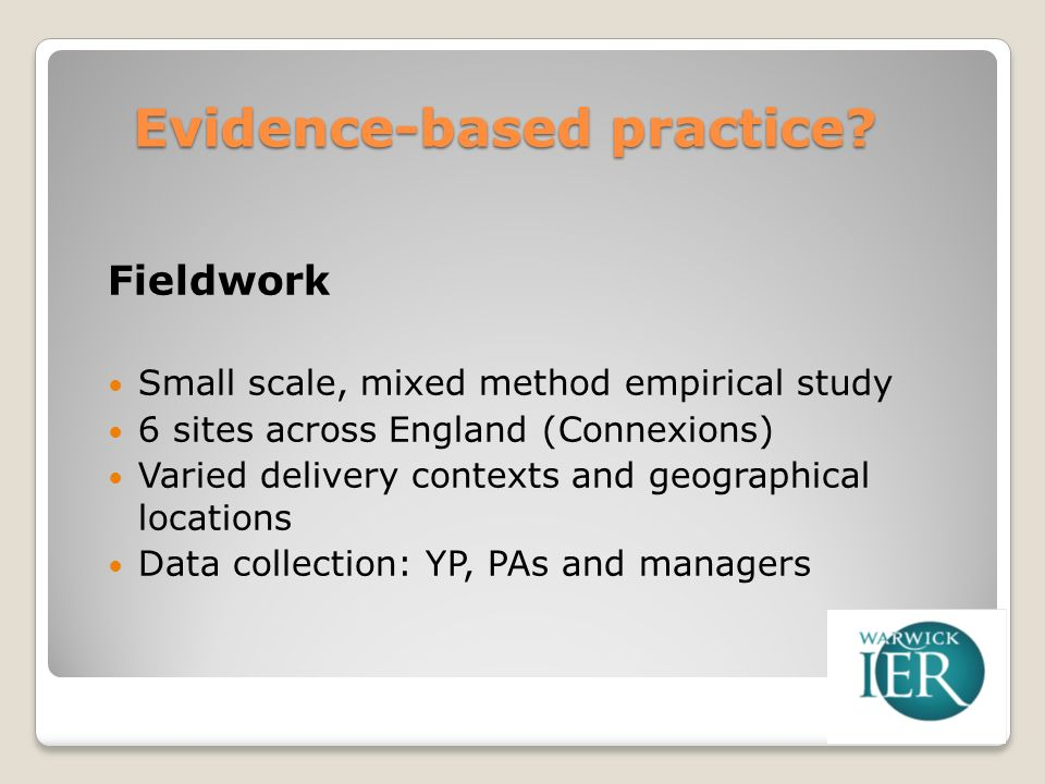 Evidence-based practice.