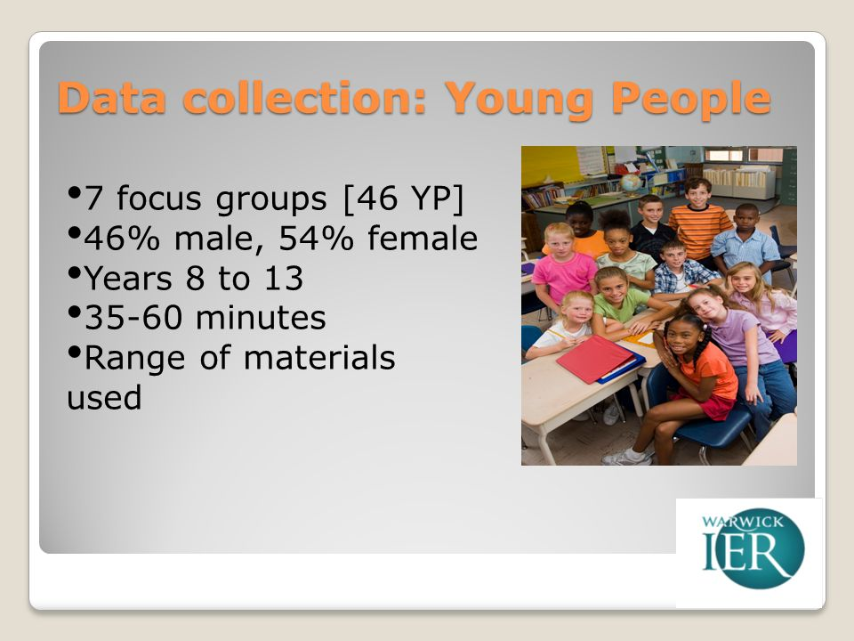Data collection: Young People 7 focus groups [46 YP] 46% male, 54% female Years 8 to 13 35-60 minutes Range of materials used