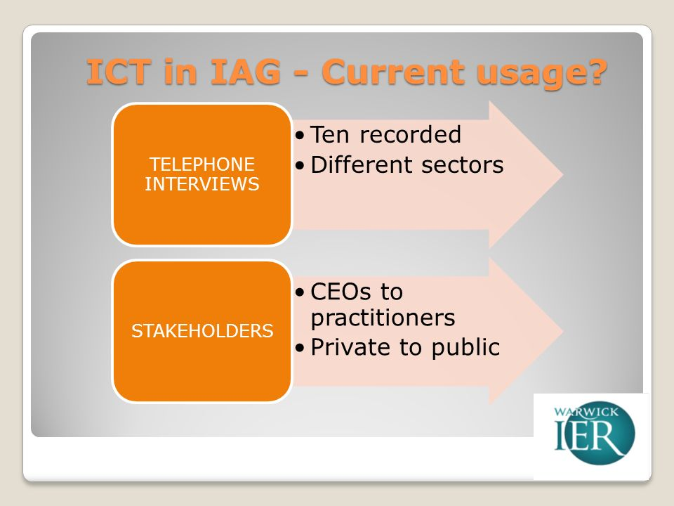ICT in IAG - Current usage.