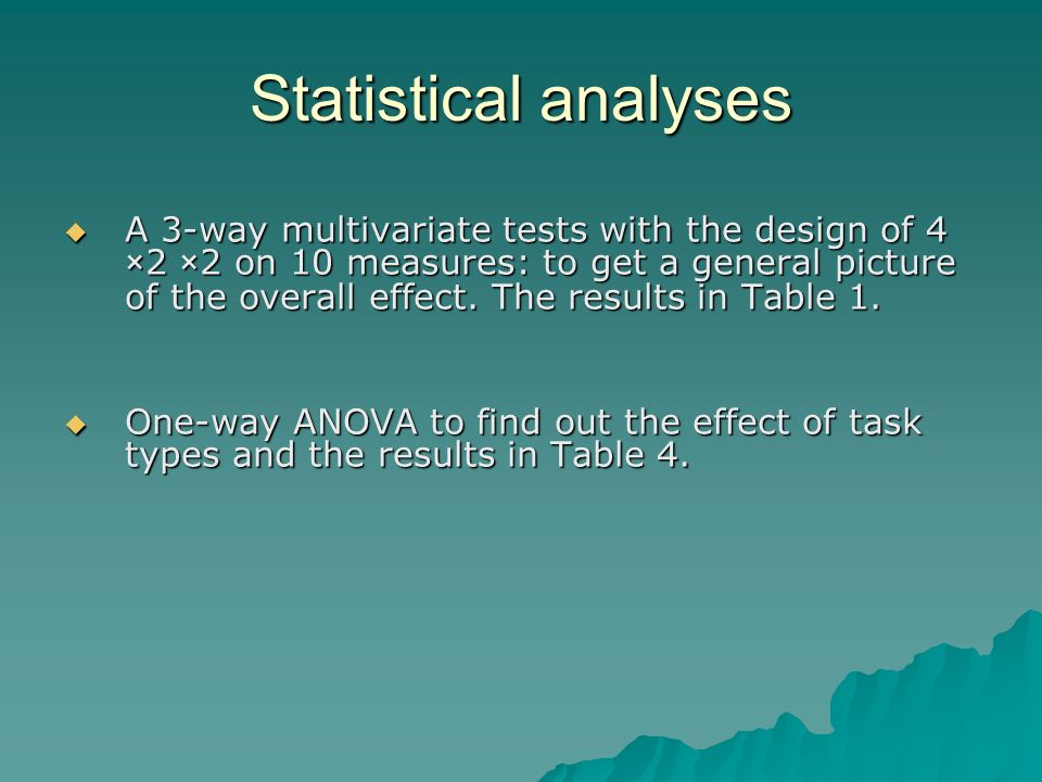 Statistical analyses A 3-way multivariate tests with the design of 4 ×2 ×2 on 10 measures: to get a general picture of the overall effect.