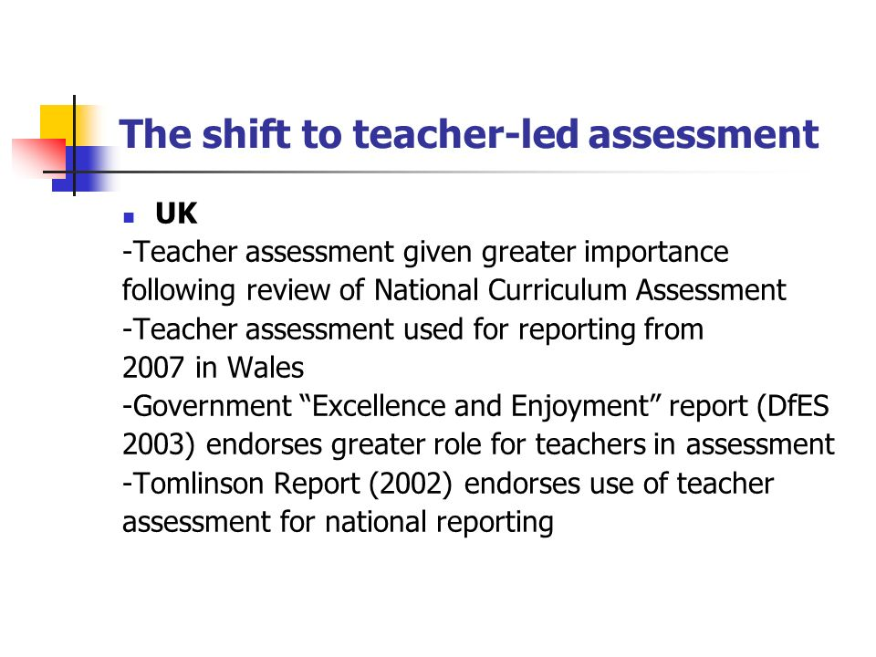The shift to teacher-led assessment UK -Teacher assessment given greater importance following review of National Curriculum Assessment -Teacher assessment used for reporting from 2007 in Wales -Government Excellence and Enjoyment report (DfES 2003) endorses greater role for teachers in assessment -Tomlinson Report (2002) endorses use of teacher assessment for national reporting