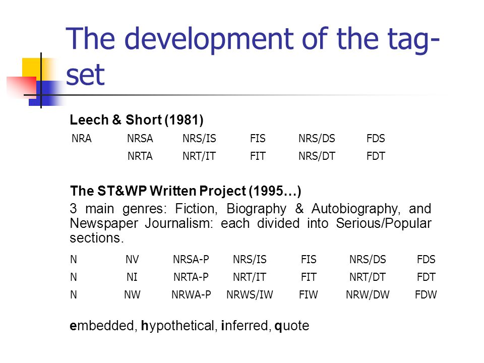 The development of the tag- set NNVNRSA-PNRS/ISFISNRS/DSFDS NNINRTA-PNRT/ITFITNRT/DTFDT NNWNRWA-PNRWS/IWFIWNRW/DWFDW NRANRSANRS/ISFISNRS/DSFDS NRTANRT/ITFITNRS/DTFDT Leech & Short (1981) The ST&WP Written Project (1995…) 3 main genres: Fiction, Biography & Autobiography, and Newspaper Journalism: each divided into Serious/Popular sections.