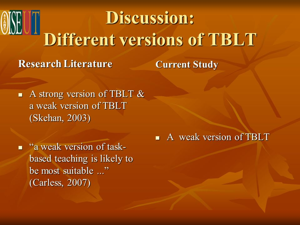 Discussion: Different versions of TBLT Research Literature A strong version of TBLT & a weak version of TBLT (Skehan, 2003) A strong version of TBLT & a weak version of TBLT (Skehan, 2003) a weak version of task- based teaching is likely to be most suitable...