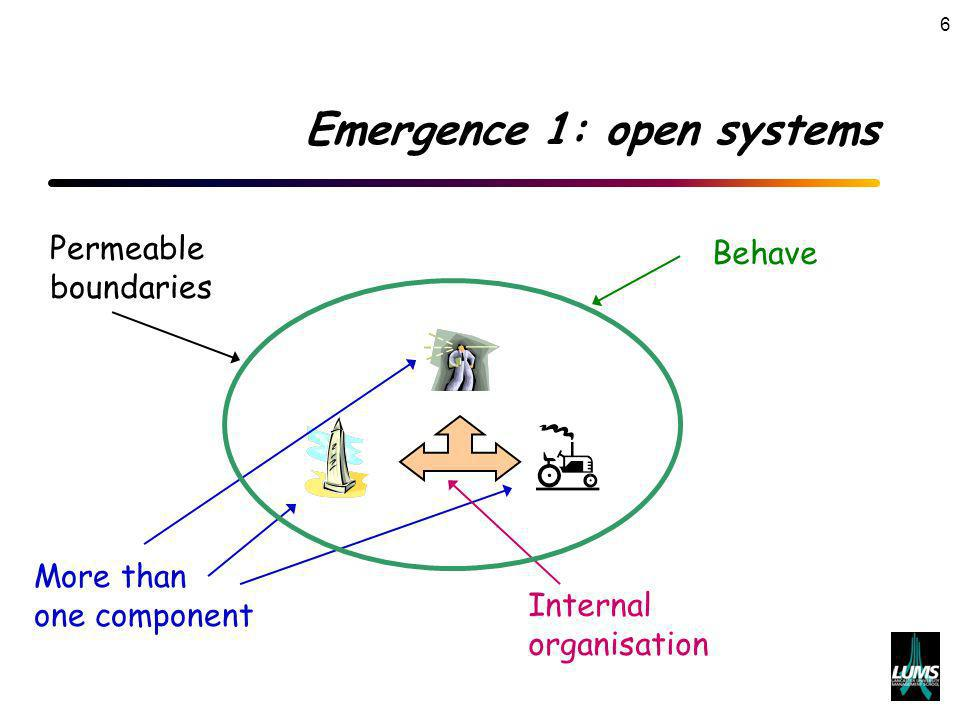 6 Emergence 1: open systems Permeable boundaries More than one component Internal organisation Behave