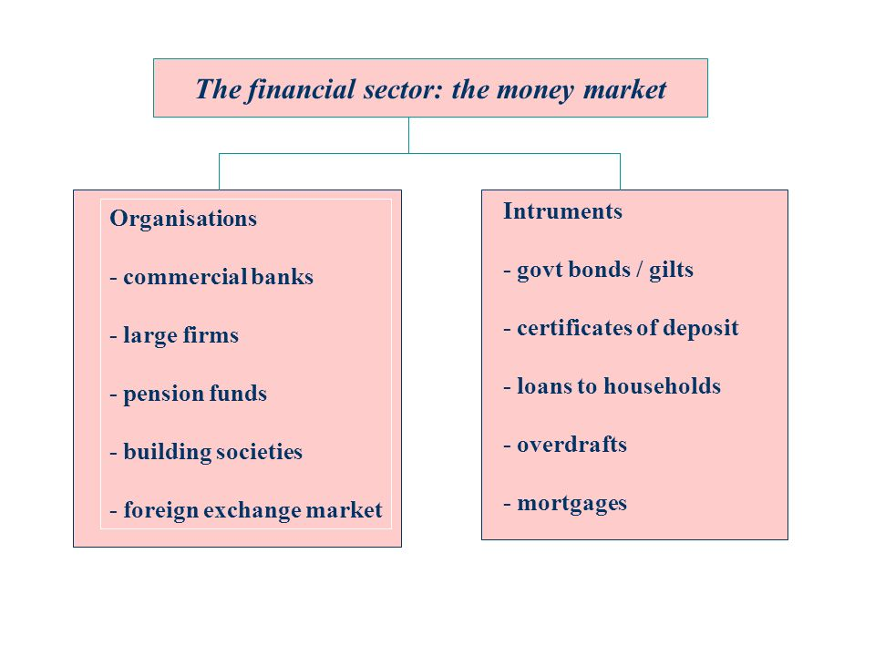 The financial sector: the money market Organisations - commercial banks - large firms - pension funds - building societies - foreign exchange market Intruments - govt bonds / gilts - certificates of deposit - loans to households - overdrafts - mortgages