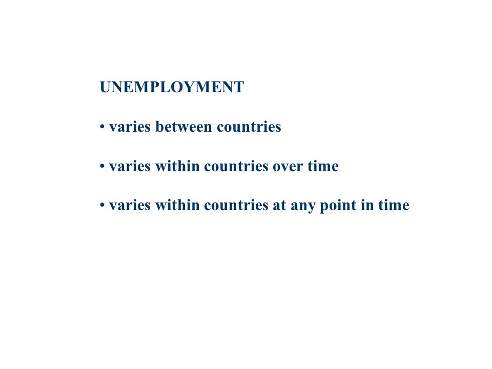 UNEMPLOYMENT varies between countries varies within countries over time varies within countries at any point in time
