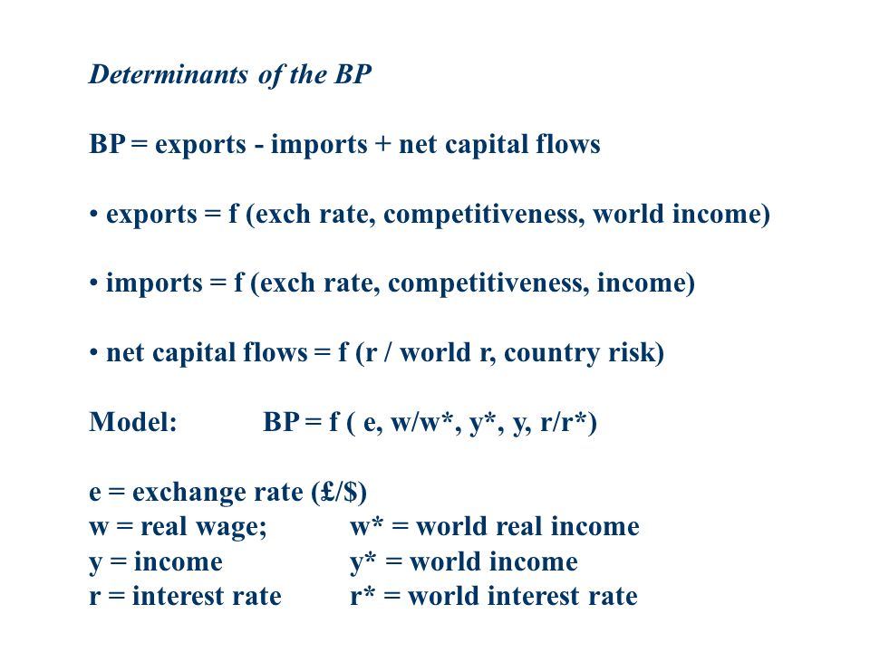 Determinants of the BP BP = exports - imports + net capital flows exports = f (exch rate, competitiveness, world income) imports = f (exch rate, competitiveness, income) net capital flows = f (r / world r, country risk) Model:BP = f ( e, w/w*, y*, y, r/r*) e = exchange rate (£/$) w = real wage; w* = world real income y = incomey* = world income r = interest rater* = world interest rate