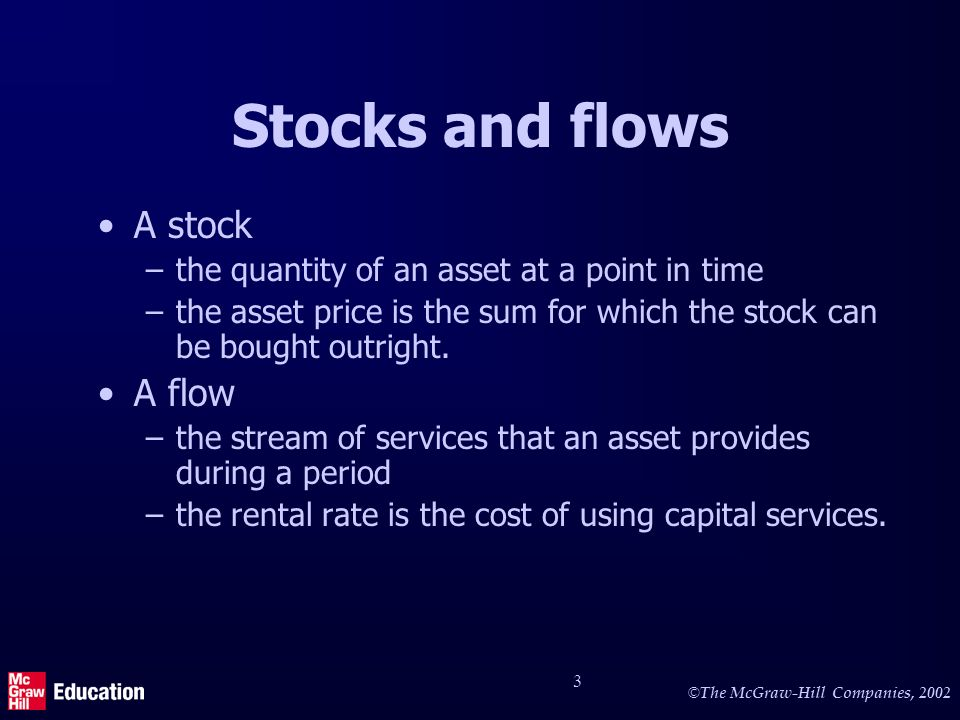 © The McGraw-Hill Companies, 2002 3 Stocks and flows A stock –the quantity of an asset at a point in time –the asset price is the sum for which the stock can be bought outright.