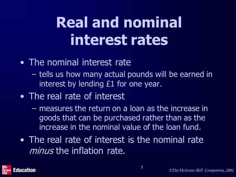 © The McGraw-Hill Companies, 2002 5 Real and nominal interest rates The nominal interest rate –tells us how many actual pounds will be earned in interest by lending £1 for one year.