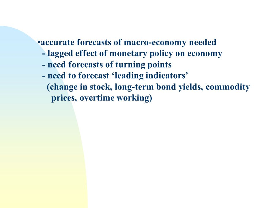 accurate forecasts of macro-economy needed - lagged effect of monetary policy on economy - need forecasts of turning points - need to forecast leading indicators (change in stock, long-term bond yields, commodity prices, overtime working)