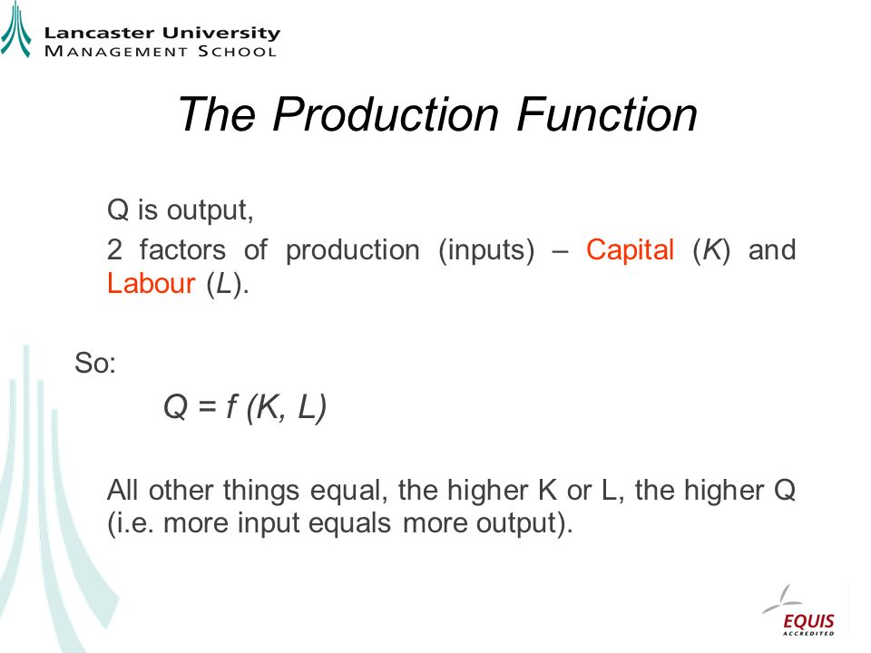 The Production Function Q is output, 2 factors of production (inputs) – Capital (K) and Labour (L).