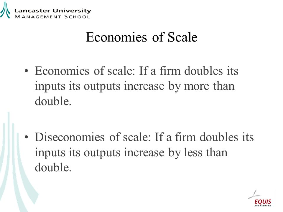Economies of Scale Economies of scale: If a firm doubles its inputs its outputs increase by more than double.