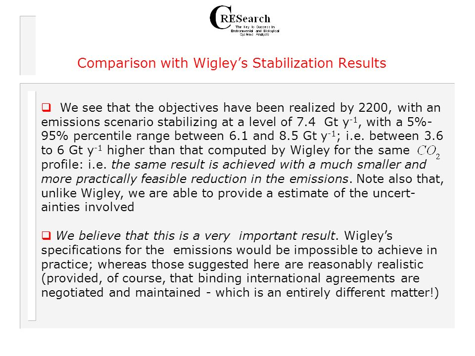 Comparison with Wigleys Stabilization Results We see that the objectives have been realized by 2200, with an emissions scenario stabilizing at a level of 7.4 Gt y -1, with a 5%- 95% percentile range between 6.1 and 8.5 Gt y -1 ; i.e.