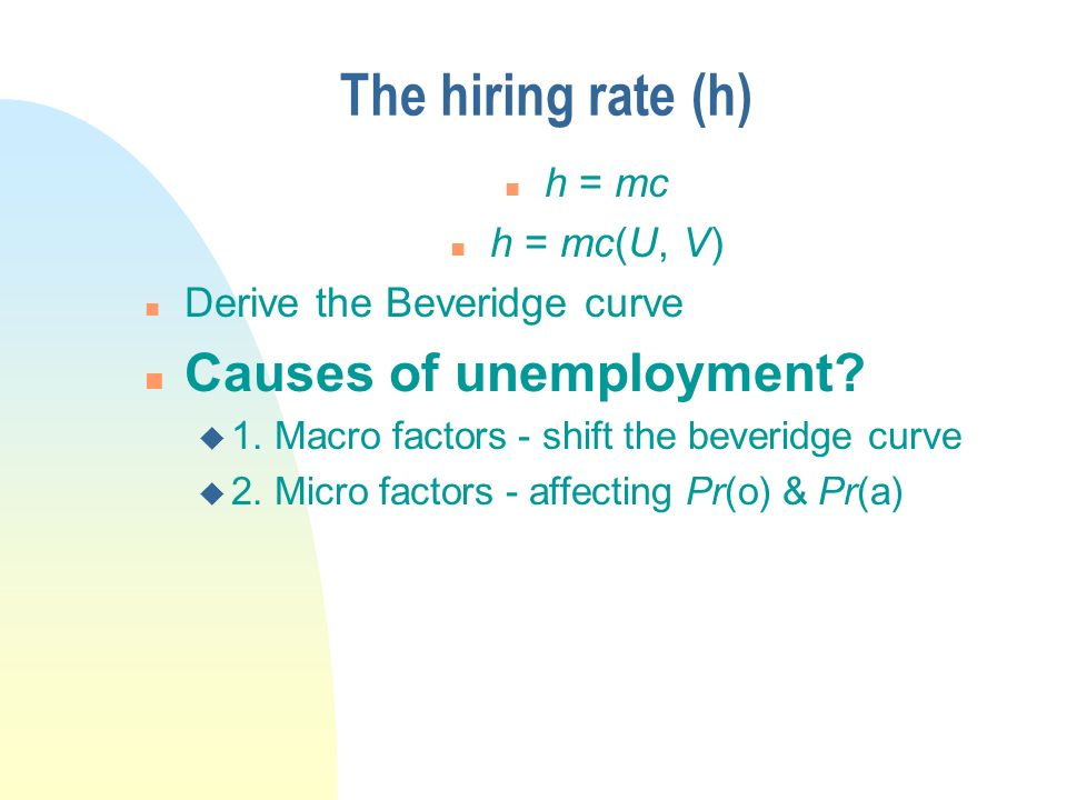 The hiring rate (h) n h = mc n h = mc(U, V) n Derive the Beveridge curve n Causes of unemployment.