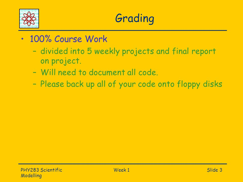 PHY283 Scientific Modelling Week 1Slide 3 Grading 100% Course Work –divided into 5 weekly projects and final report on project.