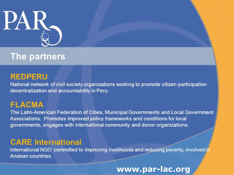 REDPERU National network of civil society organizations working to promote citizen participation decentralization and accountability in Peru.