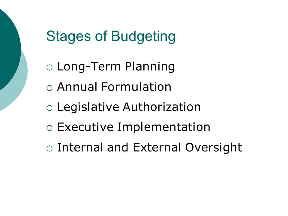 Stages of Budgeting Long-Term Planning Annual Formulation Legislative Authorization Executive Implementation Internal and External Oversight