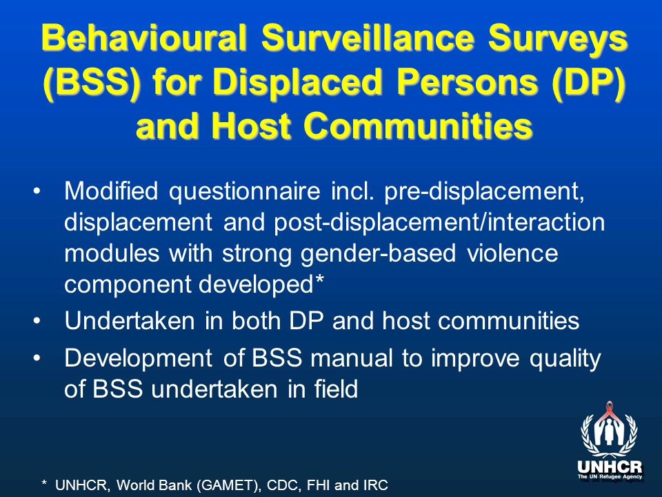 Behavioural Surveillance Surveys (BSS) for Displaced Persons (DP) and Host Communities Modified questionnaire incl.