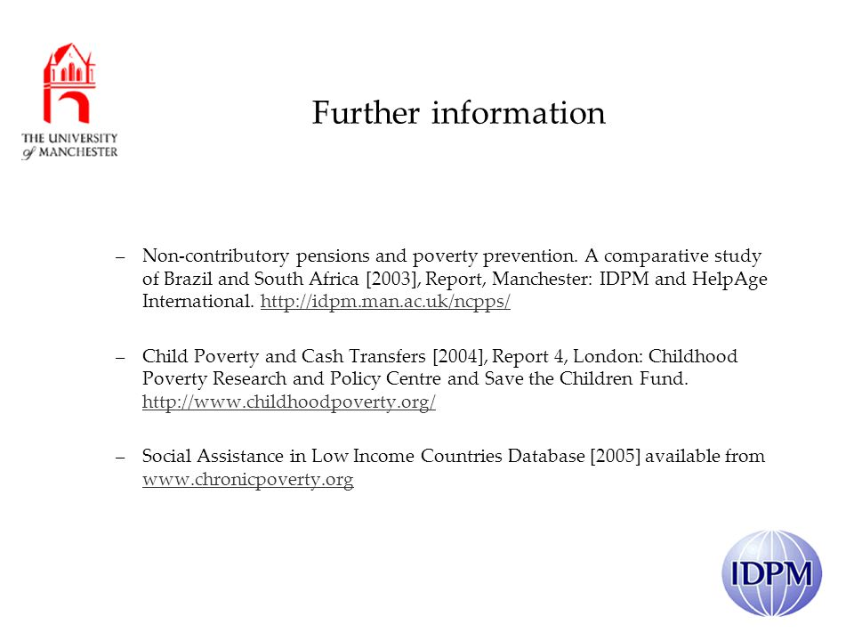 Further information –Non-contributory pensions and poverty prevention.