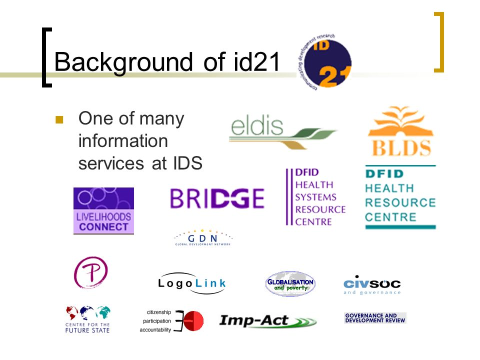 Background of id21 One of many information services at IDS