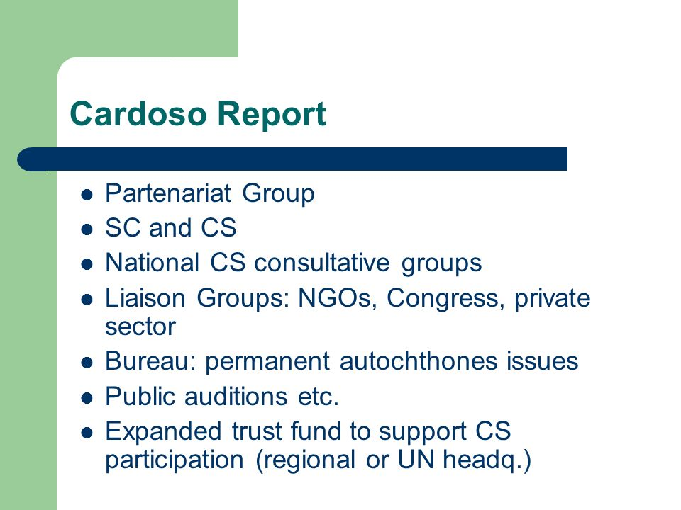 Cardoso Report Partenariat Group SC and CS National CS consultative groups Liaison Groups: NGOs, Congress, private sector Bureau: permanent autochthones issues Public auditions etc.