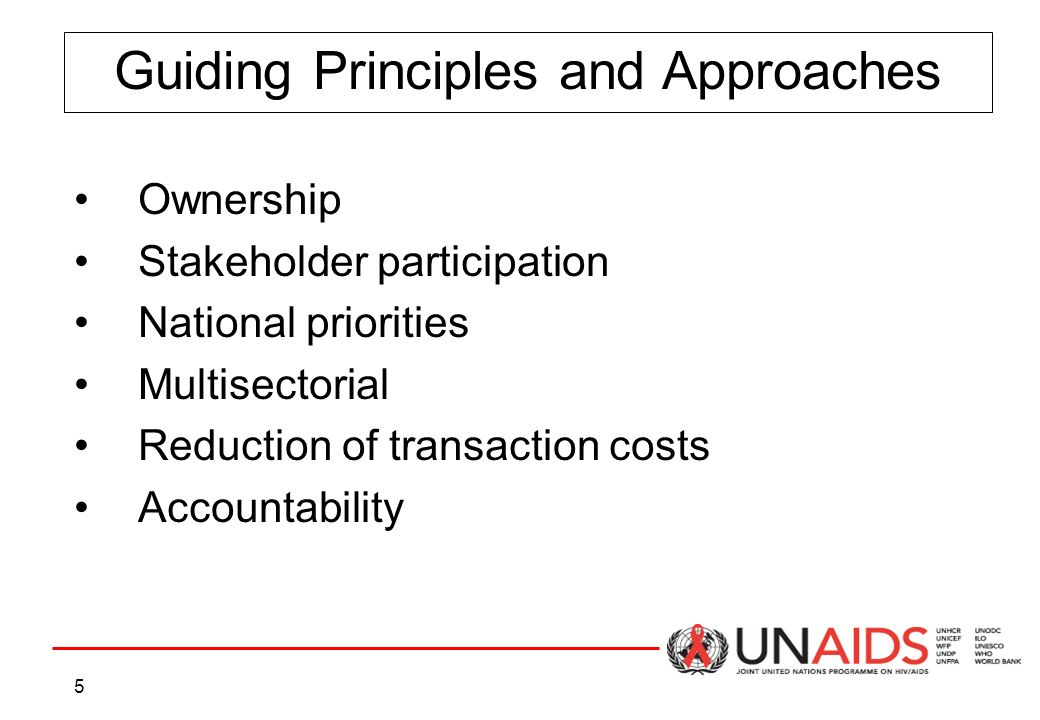 5 Guiding Principles and Approaches Ownership Stakeholder participation National priorities Multisectorial Reduction of transaction costs Accountability