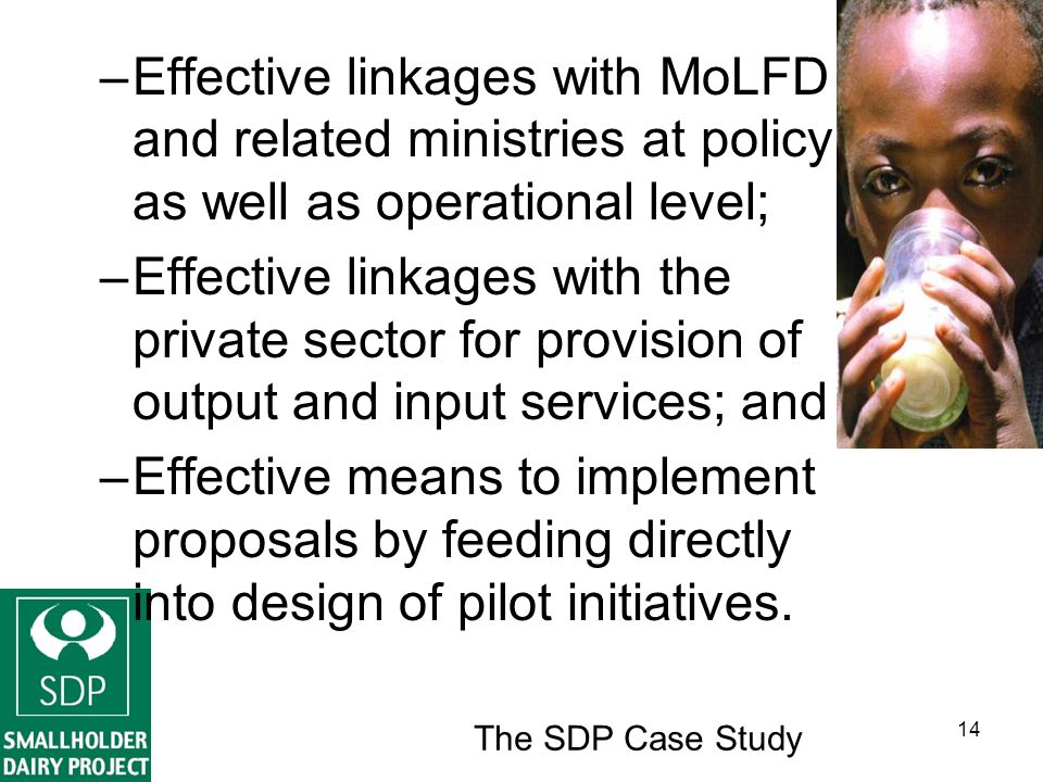The SDP Case Study 14 –Effective linkages with MoLFD and related ministries at policy as well as operational level; –Effective linkages with the private sector for provision of output and input services; and –Effective means to implement proposals by feeding directly into design of pilot initiatives.