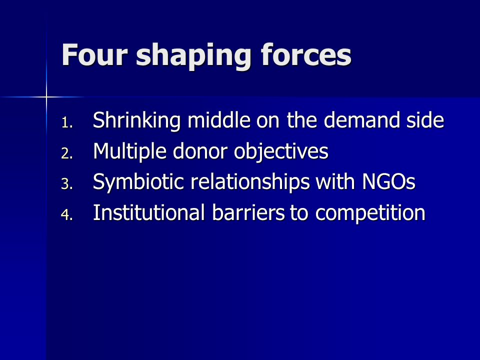 Four shaping forces 1. Shrinking middle on the demand side 2.
