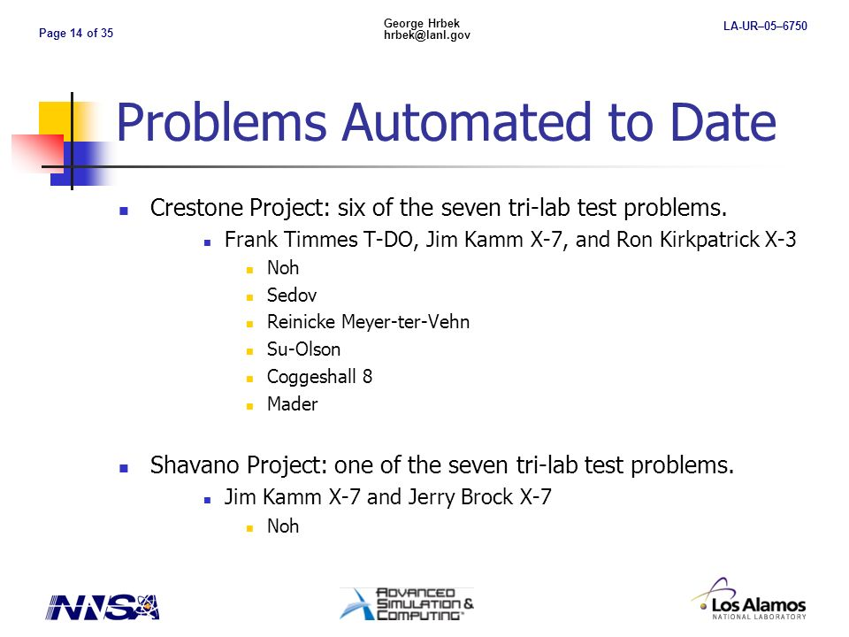Page 14 of 35 George Hrbek hrbek@lanl.gov LA-UR–05–6750 Problems Automated to Date Crestone Project: six of the seven tri-lab test problems.