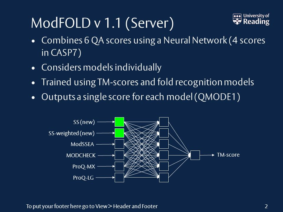 To put your footer here go to View > Header and Footer2 ModFOLD v 1.1 (Server) Combines 6 QA scores using a Neural Network (4 scores in CASP7) Considers models individually Trained using TM-scores and fold recognition models Outputs a single score for each model (QMODE1) InputsHidden LayerOutput TM-score SS (new) SS-weighted (new) ModSSEA MODCHECK ProQ-MX ProQ-LG