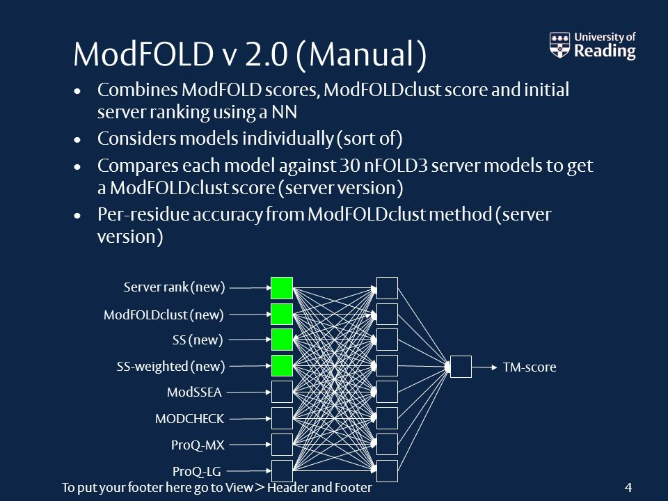 To put your footer here go to View > Header and Footer4 ModFOLD v 2.0 (Manual) Combines ModFOLD scores, ModFOLDclust score and initial server ranking using a NN Considers models individually (sort of) Compares each model against 30 nFOLD3 server models to get a ModFOLDclust score (server version) Per-residue accuracy from ModFOLDclust method (server version)