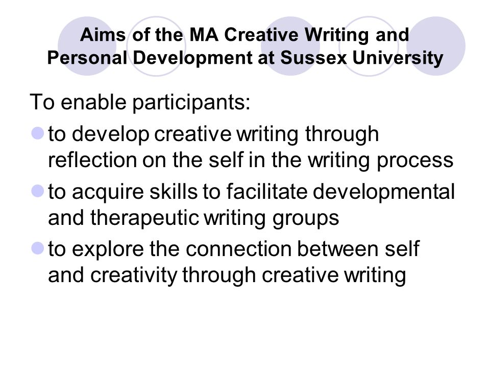 Ma creative writing for therapeutic purposes creative writing on birds